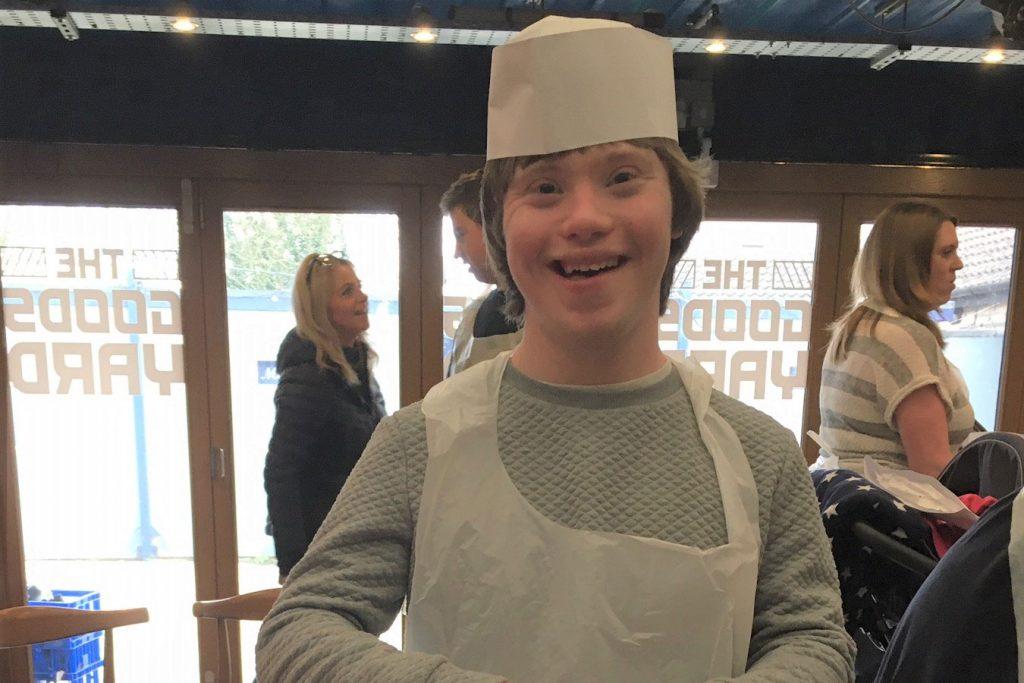 Ned from St Nicholas School celebrates pancake day at Chippenham Pitstop